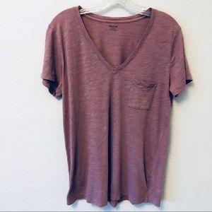 Madewell V-neck T-shirt heathered purple medium